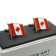 Canadian Waving Flag Cufflinks by Onyx Art in Gift Box CK977